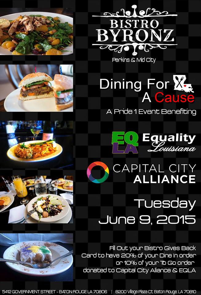 Pride 1 Dining for a Cause (CCA & EQLA) @ Bistro Byronz | Baton Rouge | Louisiana | United States